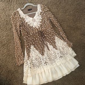 RYU Anthro Brown and Ivory Lace Dress Size small